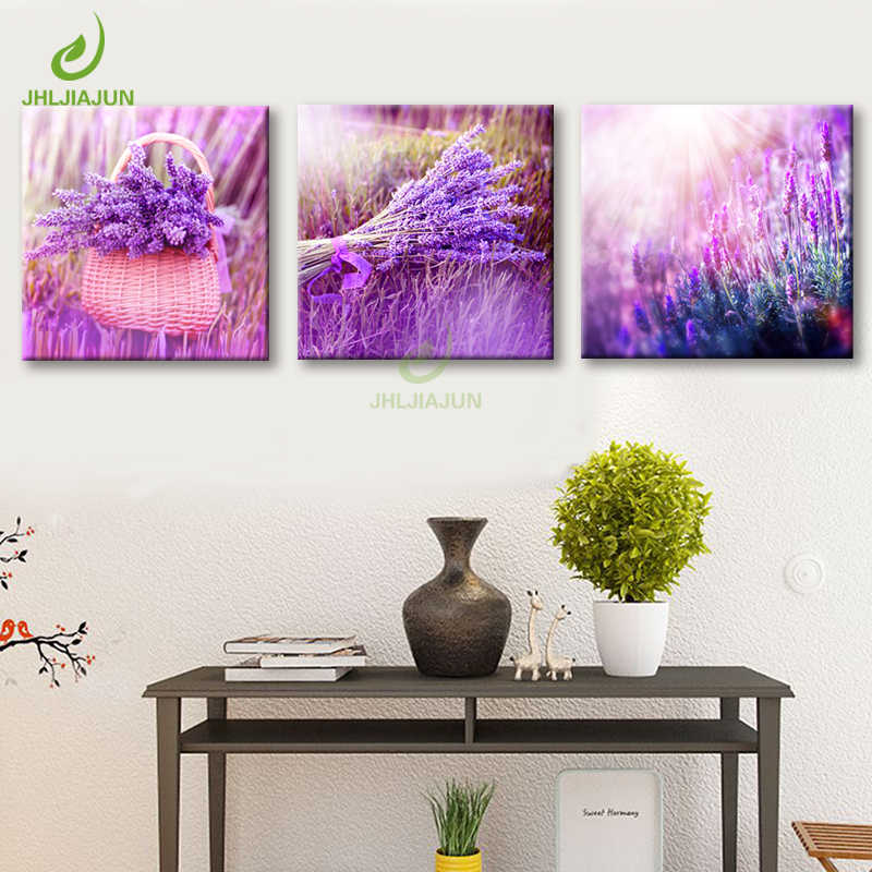 3 Pieces Home Decoration Art Wall Purple Lavender Flowers Modular Pictures For Living Room Paintings Print on Canvas on the wall
