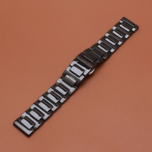 Pure cerámica venda de reloj de 22mm para samsung gear s3 classic frontera butterfly correa de hebilla de pulsera pulsera de la correa negro blanco polaco