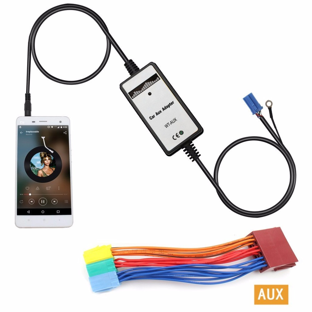 12pin Auto 3 5mm Cd Wechsler Interface Usb Mp3 Aux In: New Car MP3 Interface DC 12V USB SD Data Cable AUX Adapter