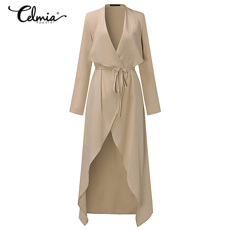 2019 Autumn Spring Womens Thin   Trench   Coat Long Sleeve Open Front Tie Waist Casual Long Belted Outerwear Windbreaker Plus Size