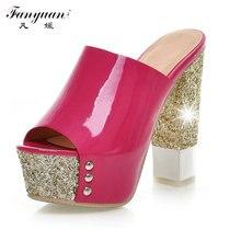 2016 New Hot Women Sandal High Heels Flip Flops Summer Party Sweet Glitter Shoes Round toe Platform Sandals Big size 32-43
