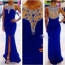 Nach Maß Frontseiten-schlitz Chiffon Kristall Perlen Partei Brautkleider Meerjungfrau Bodenlangen Royal Blue Abendkleid