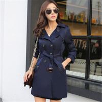 2019 Spring Double Breasted Trench Coat Women Business Slim Basic Outerwear Women Classic Long Trench Coat With Belt Female