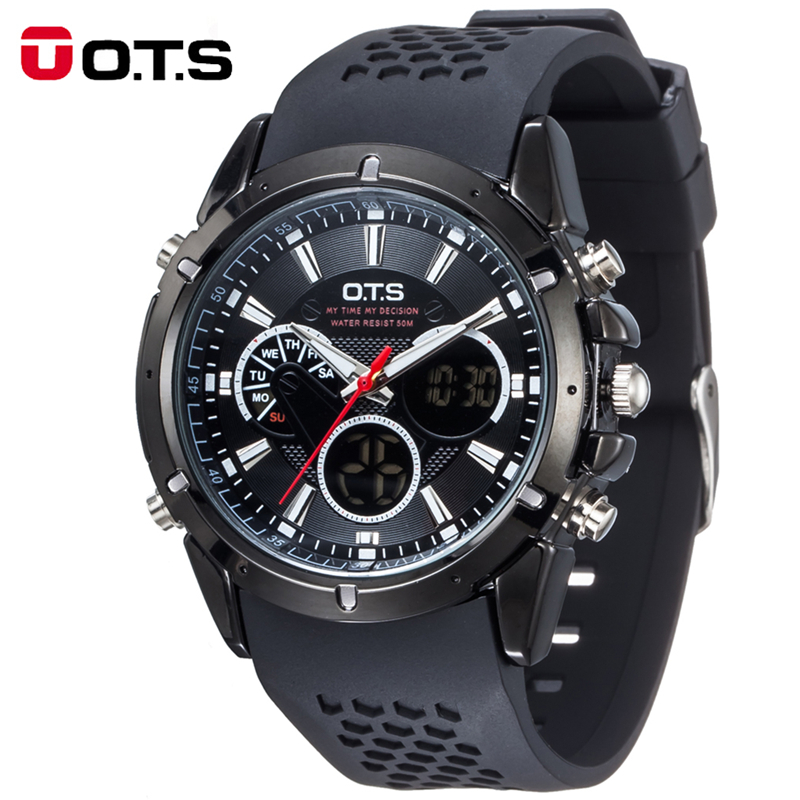 Top Brand Luxury OTS Sport Watch Auto Date Day LED Alarm Black Rubber Band Analog Quartz