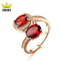 Hot Red Garnet Ring Real 925 Sterling Silver 100 Natural Gemstone Gift High Quality ZHIRY BRAND