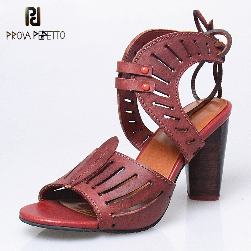 Prova Perfetto Rome Hollow Out Women Sandals Summer Breathable Peep Toe Shoes Real Leather Narrow Band Super High Heel Sandals цена