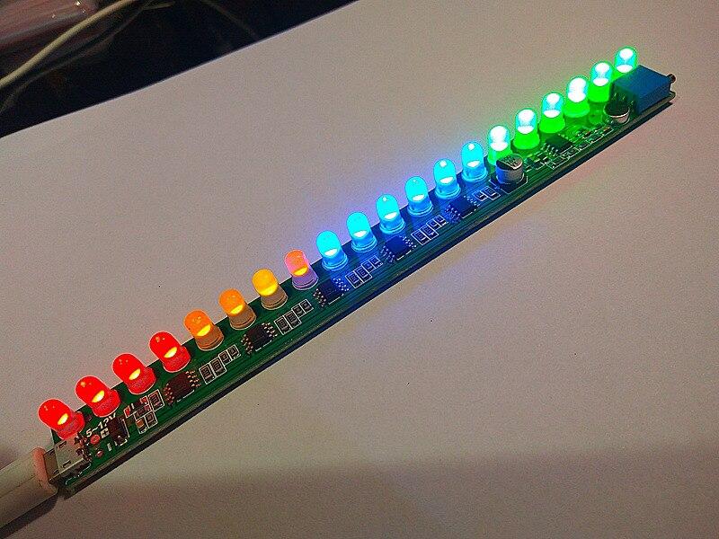 DC 5V-12V Mono voice LED level indicator music melody light audio sensor light Adjustable sensitivity 20LED F / mp3 Amplifier