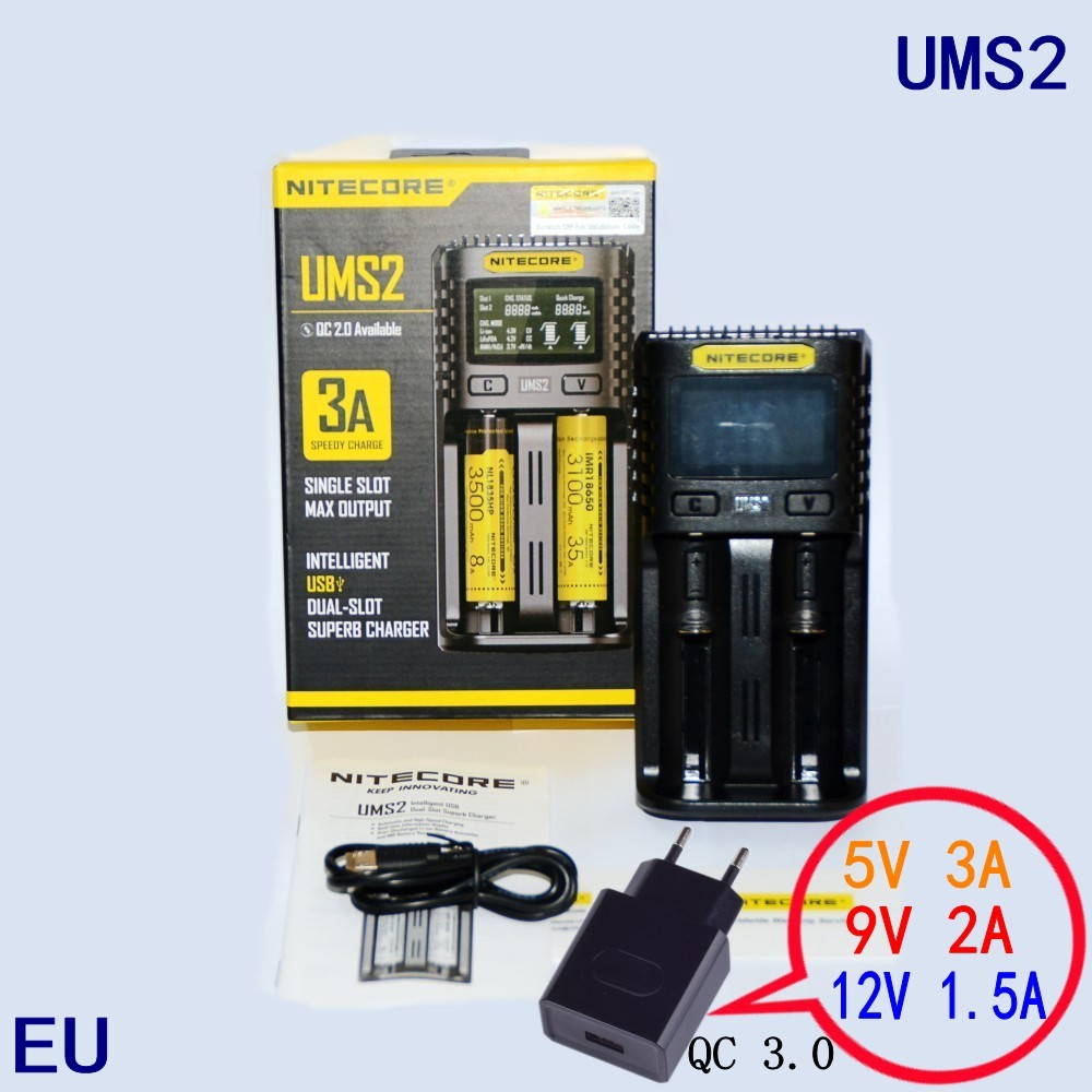 NITECOR UMS2 C4 VC4 LCD Smart Battery Charger for Li ion/IMR/INR/ICR/LiFePO4 18650 14500 26650 AA 3.7 1.2V 1.5V Batteries D4|Chargers| |  - title=