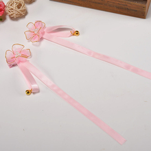 2019 new childrens cute hair accessories ancient wind Juan yarn fabric flower ribbon bell hairpin female baby