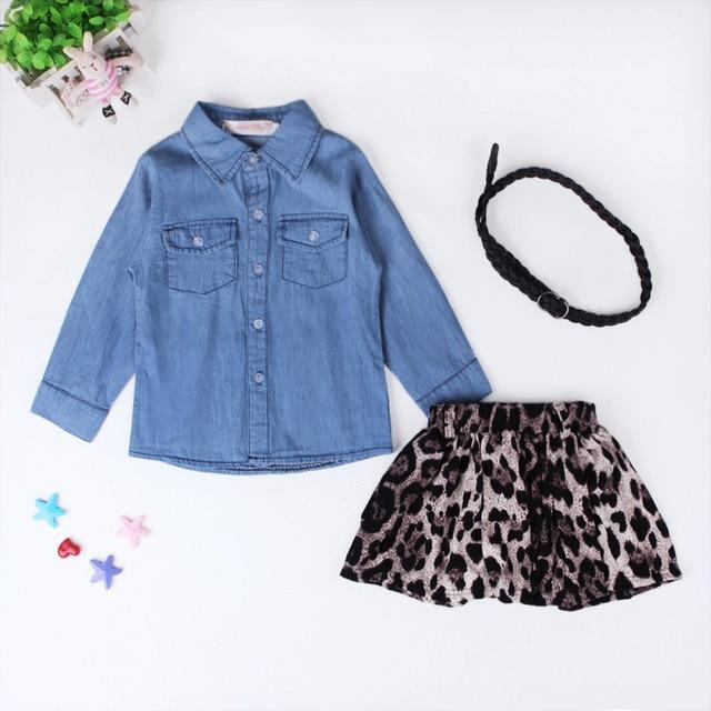 91fbbe277d Nueva Europa niños ropa niñas camisa de mezclilla + falda de leopardo +  cinturón Unidades 3