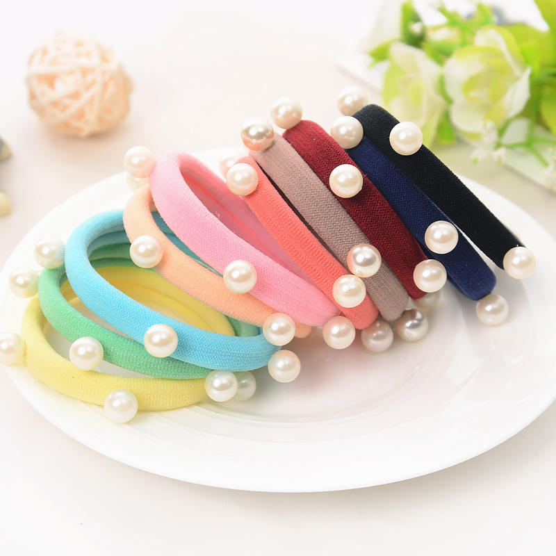 Rope-Rings Headband Hair-Accessories Elastic Girls Pearl with Ponytail-Holders