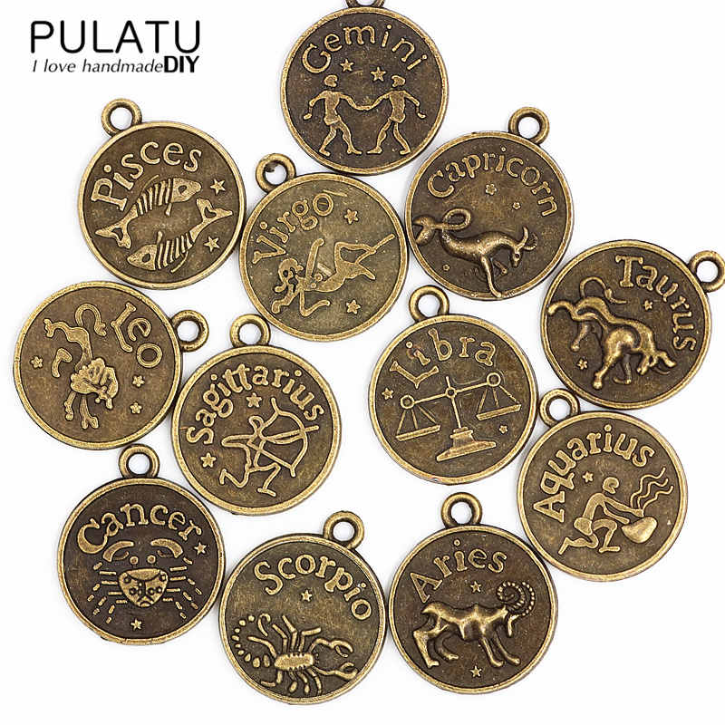 PULATU 12 Zodiac Signs for Charms Bracelet Necklace Pendant Ancient gold Suspensions hand made diy Jewelry Making Accessories