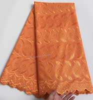 baby orange very soft polish cotton African Swiss voile lace fabric Nigerian garment cloth can be used for men women good choice