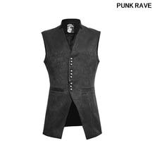 Gothic Winter Luxury Black Slim Men Vest Flowers Pattern Sleeveless Stand-up V Collar Man Waistcoats Coat PUNK RAVE Y-642