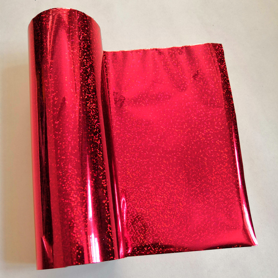 Hot stamping foil  holographic foil red crystal point  pattern hot press on paper or plastic heat transfer film 21cm x 120m