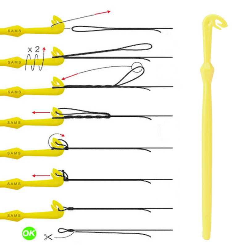 Nail Typing Node and Disgorger Hook Loop Fast Draw Fishing Tool with Subordination Hook Yellow Plastic Level Line Tool Kit
