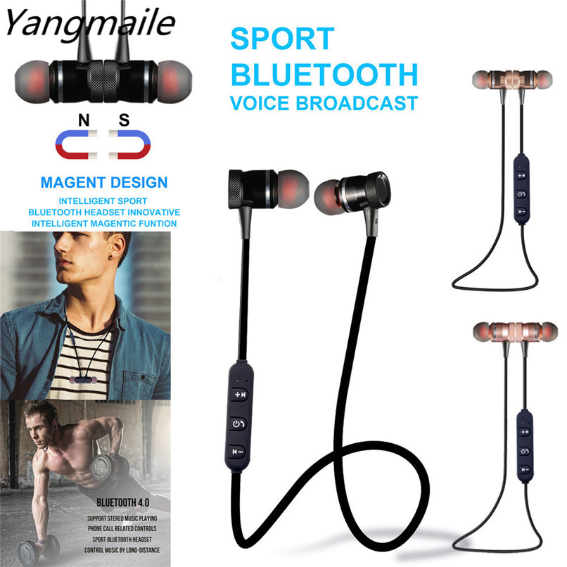 Yangmaile Metal Magnet Wireless Bluetooth Earphone Headset For iPhone Free Shipping H1T07