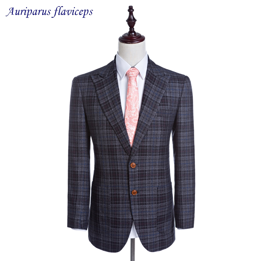 2019 New Jacket Damier Check Blazer Blazer 2 Buttons Groom Tuxedos Worsted Wool Jacket Custom Made Man Suit Jacket 1 Piece Clients First