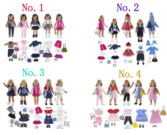 Lot 17 Item=5 Set Doll Clothes+5 Pair Shoes+5 Pieces Bag+2 Pair Socks for 18 Inch American Doll Handmade Casual Wear OutfitLot 17 Item=5 Set Doll Clothes+5 Pair Shoes+5 Pieces Bag+2 Pair Socks for 18 Inch American Doll Handmade Casual Wear Outfit