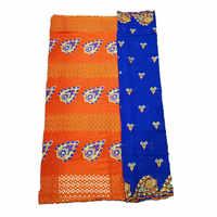 Beautifical kanten jurk stof Oranje voile kant stof borduurwerk zwitserse kant materiaal met afrikaanse sjaal 5 + 2 yards per set CHE30