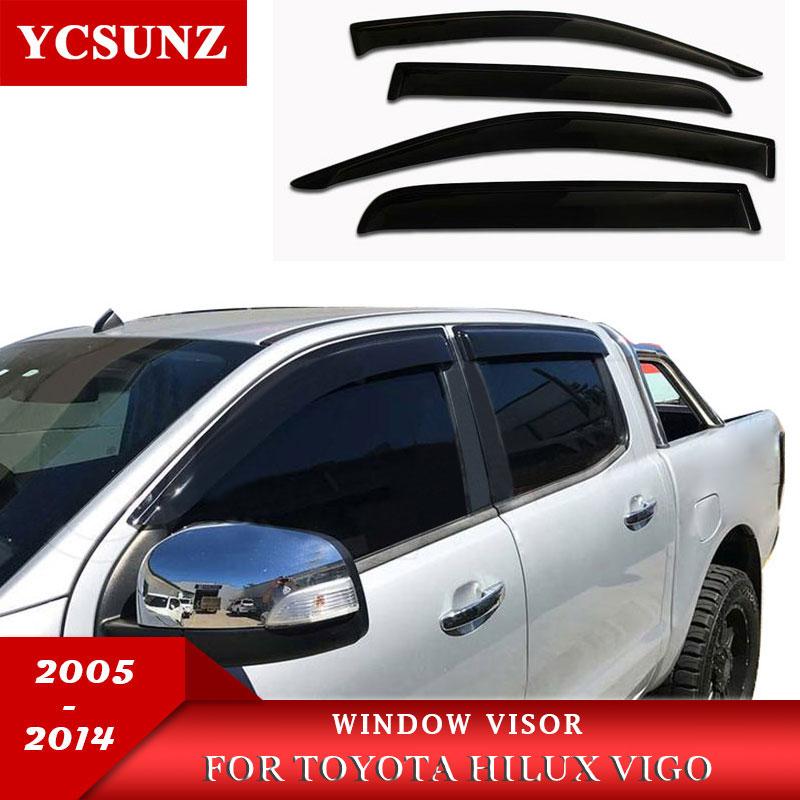 Toyota Hilux Vigo 2005-2014 üçün Yan Pəncərə Deflektorları Günəş Kölgəsi Visor