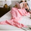 Venta caliente 2017 nueva Sirena Cosplay manto de aire acondicionado manta mantas de lana de cola de pescado de punto 5 colores