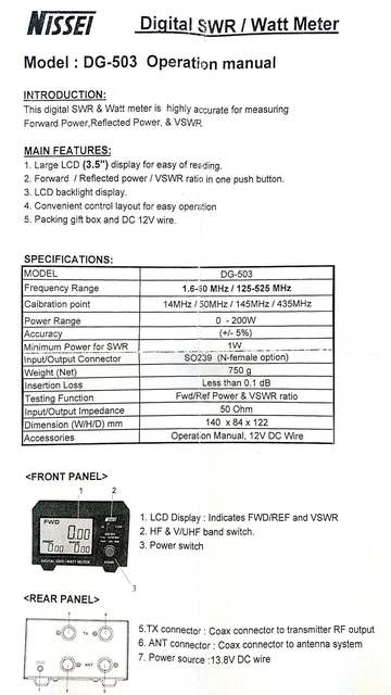 LCD Display Standing Wave Ratio Nissei DG-503 Digital SWR & Watt Meter  1 6-60MHz/125-525MHz 200W for Two-way Radio Walkie Talkie
