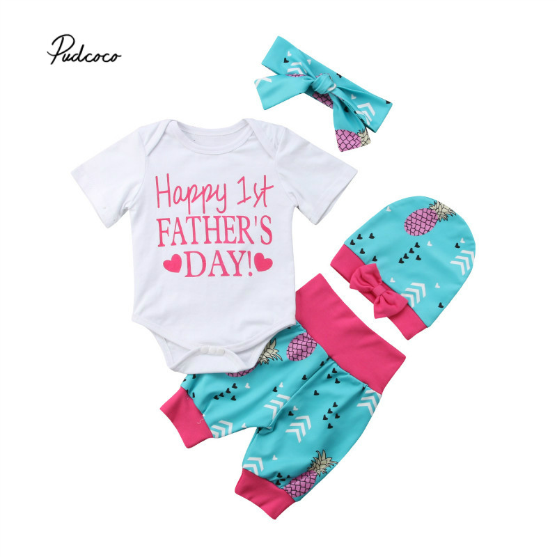 Pudcoco Summer Baby Boy Girl Happy First Father s Day Clothes Sets Printed Bodysuit Shorts Headband/Hat 3PCS Baby Sets 0-24M