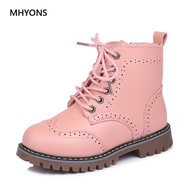 MHYONS 2018 Children Martin Boots Girls Shoes Children Warm Boots Fashion Non-slip Girl Princess Boot Autumn Winter Kid Sneakers