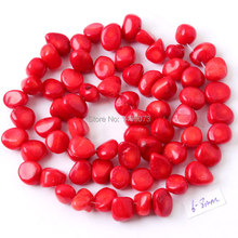 FREE SHIPPING 5X6-6X8MM FREEFORM SHAPE NATURAL RED CORAL FOR DIY NECKLACE BRACELAT JEWELRY MAKING SPACER LOOSE BEADS STRAND 15″