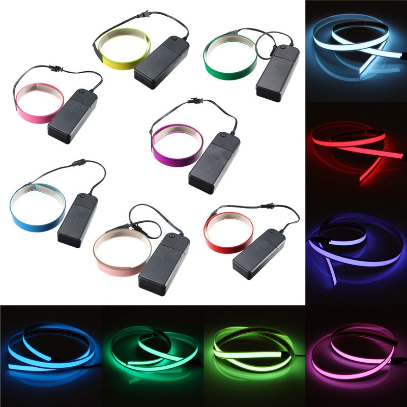 1M 4 Modes Electroluminescent Tape EL Wire Glowing LED Rope Flat Strip Light with AA Battery Box 3V