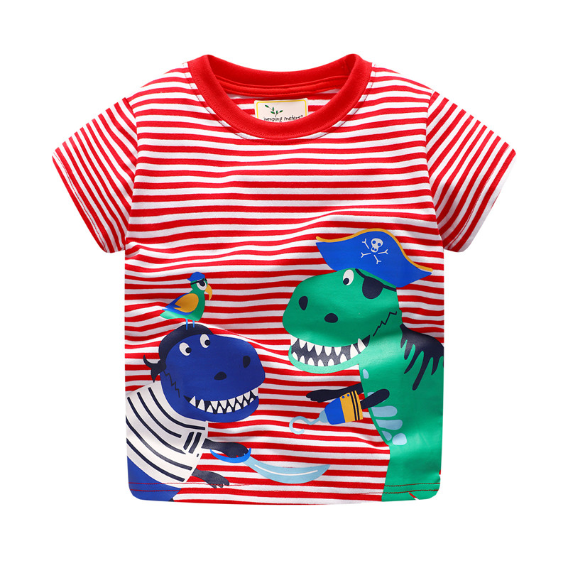 jumping meters baby boys cartoon t shirt kids striped short sleeve summer t shirt with printed two dinosaur pirates top t shirts plus flounce sleeve striped top