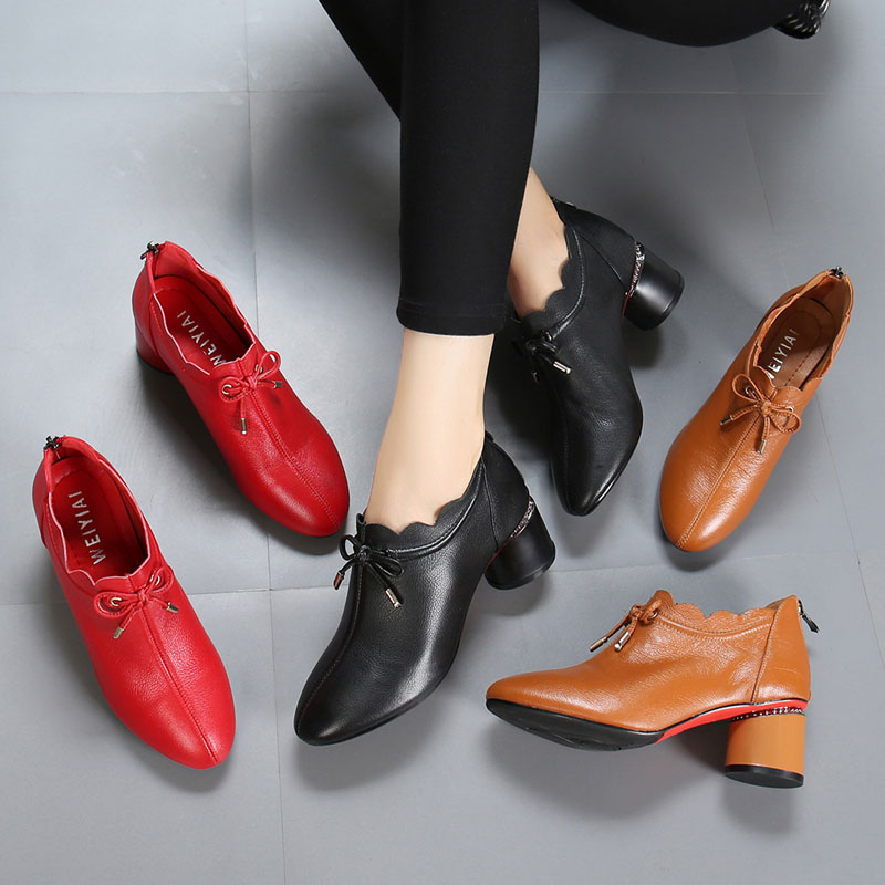 De La Printemps Avec Chaussures rouge Cuir orange Profonde Rouge Ceinture Nouvelle En Taille Des Coréenne Bouche Noir Femmes Version Épais Grande Pointues YYqrw7P