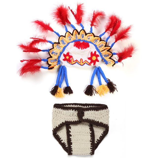 US $24 56  Baby Girl Boy Indian Crochet Outfits The Chief Hat Newborn  24Monthes Knitted Peking Opera Photo Props Diaper Shorts XDT128-in Clothing  Sets