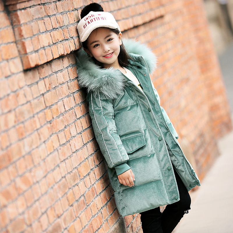 Kids Winter Jacket Girls Down Coats for Teenage Girl 10 12 14 years with Fur Hooded Corduroy Parka Girl pu leather and corduroy spliced zip up down jacket