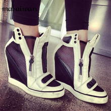2017 Fashion Women Height Increasing Casual Shoes High Heel Inside Women Wedge Shoes Double Zipper Platform Creppers Real Photos