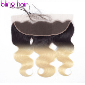 Image 4 - Bling Hair Brazilian Body Wave Lace Frontal Closure 13*4 Middle/Free/three Part with Baby Hair 100% Remy 1b/613 Blonde Color