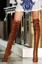 European style brown suede leather over the knee lace up peep toe boots buckle strap metal thin high heel long sandal boots 2017 new arrival lace up sandal boots open toe ankle booties peep toe woman dress shoes blue suede leather high heel boots