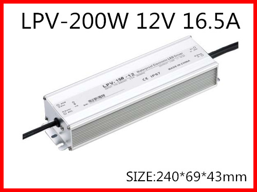 200W 12V 16.5A LED constant voltage waterproof switching power supply IP67 for led drive LPV-200-12 90w led driver dc40v 2 7a high power led driver for flood light street light ip65 constant current drive power supply