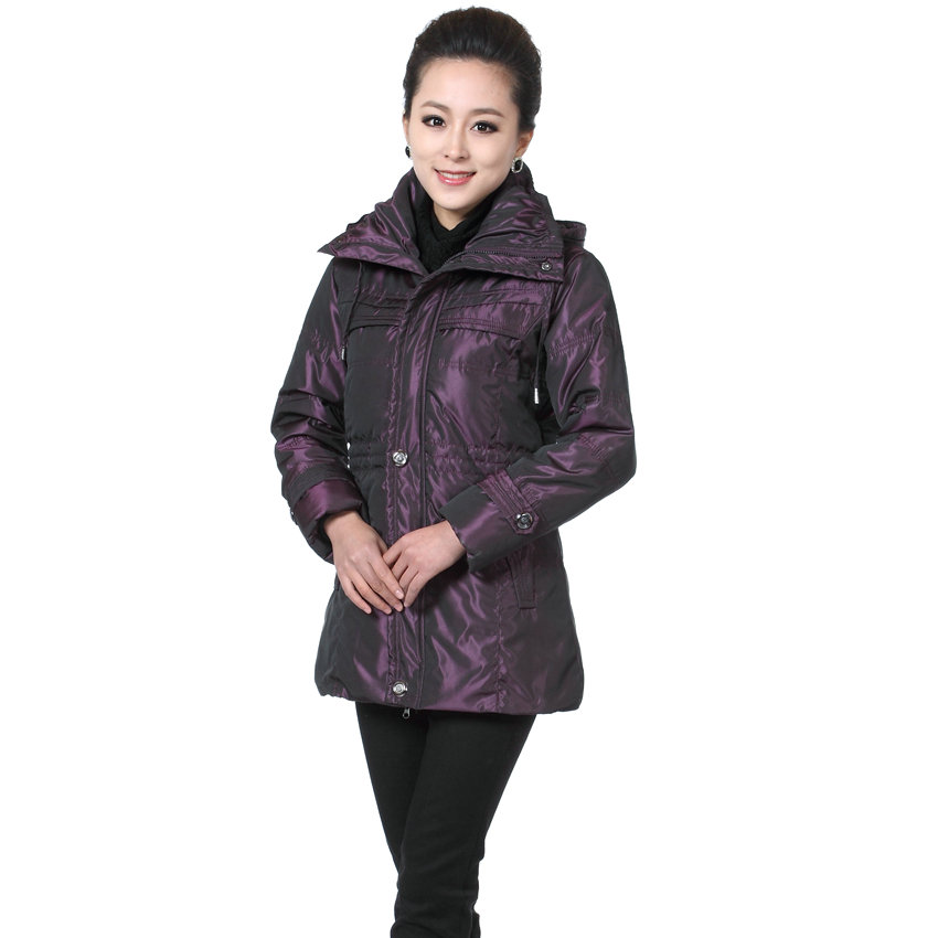 WAEOLSA Winter Woman Puffer Parkas Navy Blue Purple Hooded Quilted Jacket Middle Aged Womens Warm Puff Coats Lady Padded Apparel куртка everlast hooded bubble navy купить