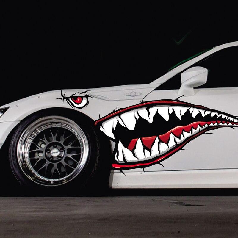 Акулы рот забавные наклейки Водонепроницаемый внешняя сторона двери наклейка автомобиля виниловой пленки автомобилей стайлинга автомоби...