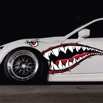 Shark Mouth Funny Car Stickers Waterproof Exterior Side Door Decal Car Vinyl Film Automobiles Car Styling デカール 車