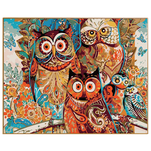 phkv abstract animal colorful owl painting by numbers owl diy