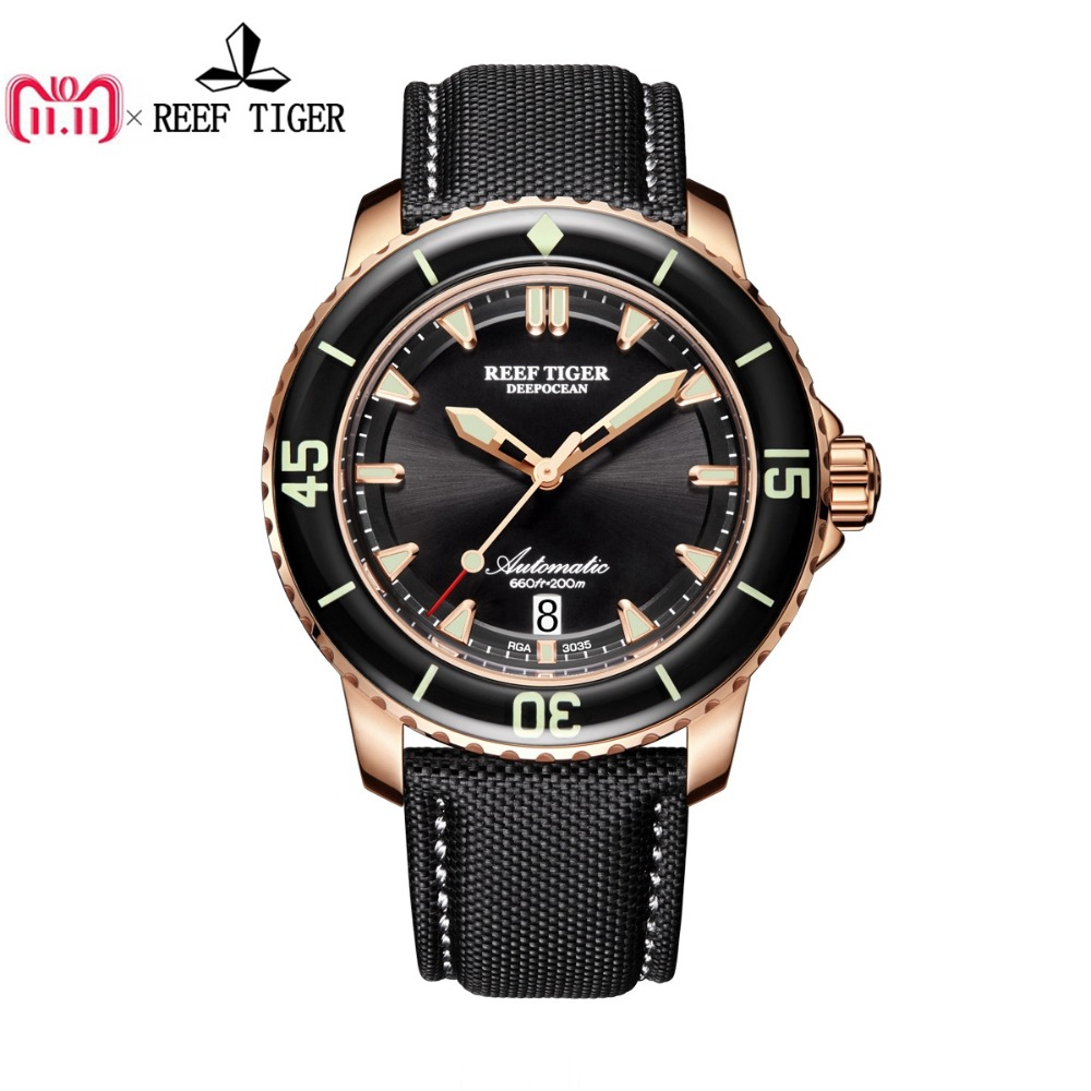 Reef Tiger/RT Mens Dive Watch with Date Super Rose Gold Luminous Automatic Watches Nylon Band RGA3035 reef tiger rt super luminous dive watches for men rose gold blue dial watches analog automatic watches rga3035