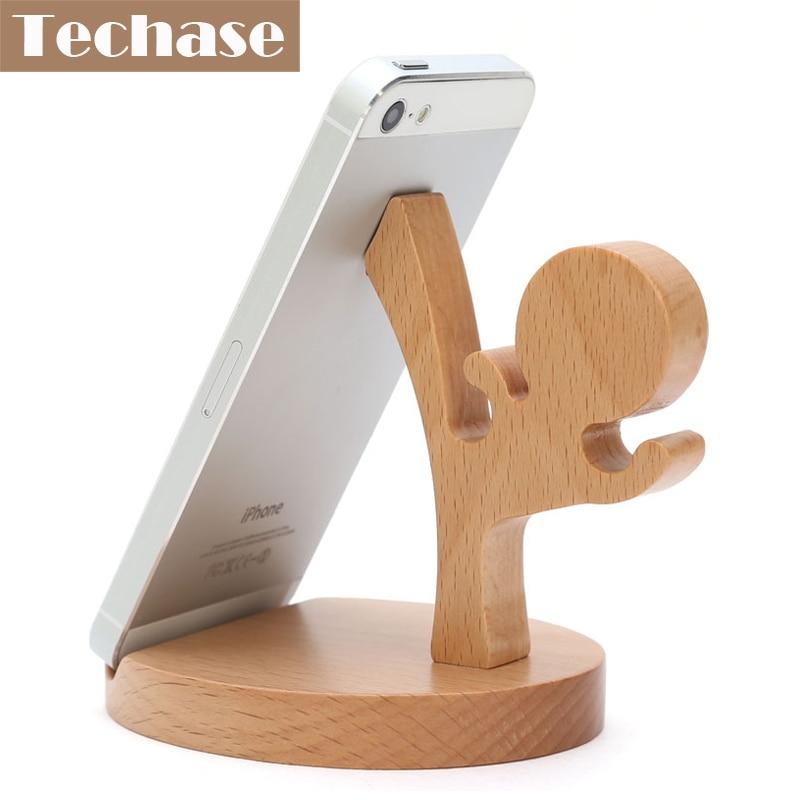 Techase Dudukan Telepon Kayu Suporte Celular Kongfu Telefon Tutucu - Aksesori dan suku cadang ponsel - Foto 1
