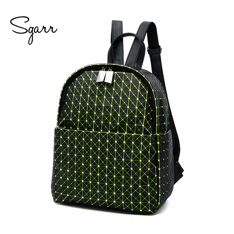 SGARR New Fashion Women PU Leather Backpack School Bag Casual Diamond Lattice Travel Shoulder Bag For