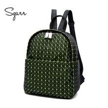 Sgarr Новая мода Дамские туфли из PU искусственной кожи рюкзак повседневная школьная сумка ромбовидная решетка дорожная сумка для девочек-подростков рюкзак