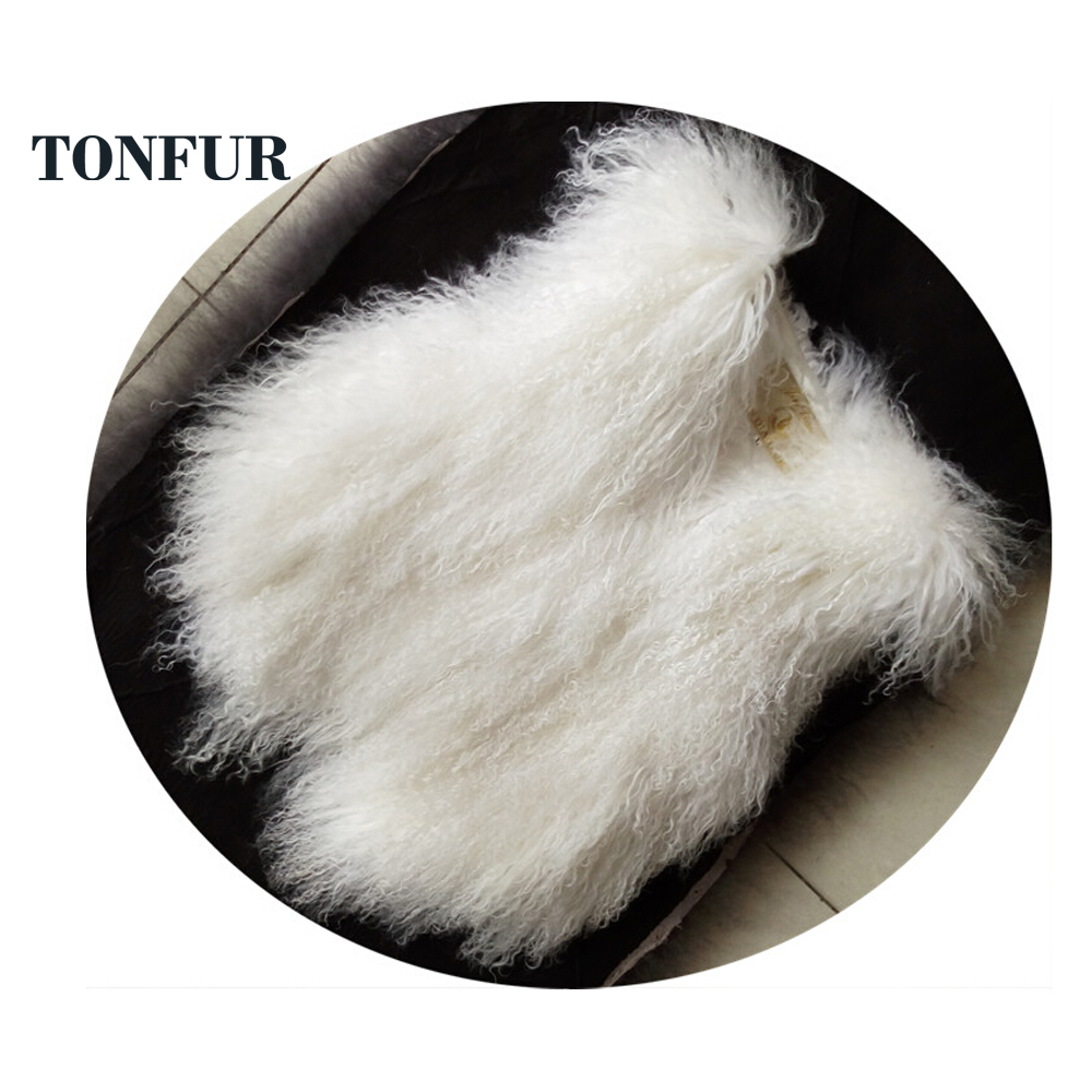 Genuine Mongolia Sheep Fur Gilet Fashion 100% Real Tan Sheep Fur Vest Hot OEM Custom Fur Waistcoat DFP882