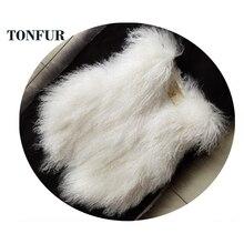 Натуральная монгольская овечья шерсть жилет Мода настоящая желтовато-коричневая овца меховая жилетка Горячая OEM заказной меховой жилет DFP882