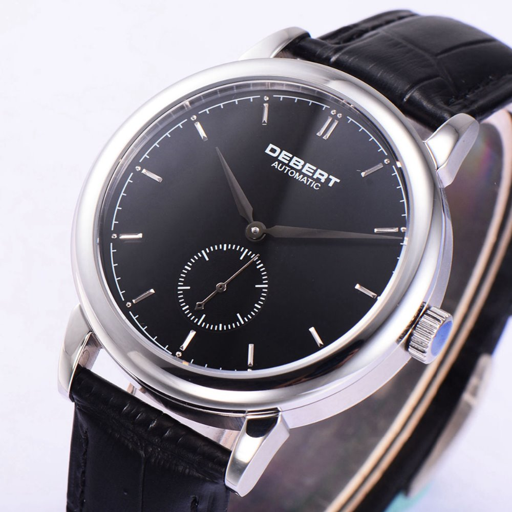 40mm Debert Black dial silver hand Automatic sapphire glass Mechanical Watch цена и фото